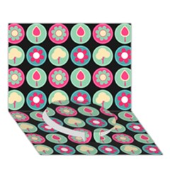 Chic Floral Pattern Circle Bottom 3d Greeting Card (7x5)