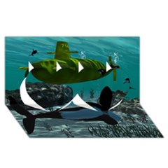 Submarine With Orca Twin Hearts 3D Greeting Card (8x4)