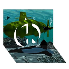 Submarine With Orca Peace Sign 3d Greeting Card (7x5)