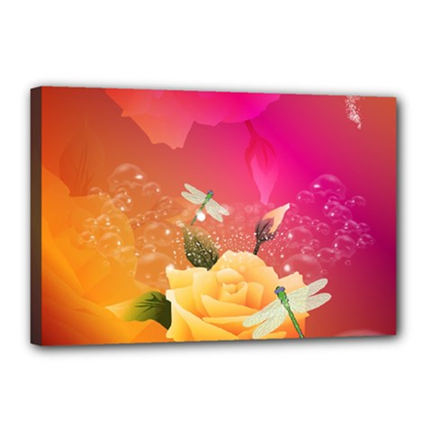 Beautiful Roses With Dragonflies Canvas 18  X 12  by FantasyWorld7
