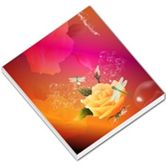 Beautiful Roses With Dragonflies Small Memo Pads by FantasyWorld7