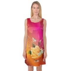 Beautiful Roses With Dragonflies Sleeveless Satin Nightdresses by FantasyWorld7