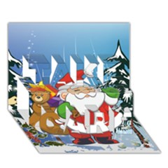 Funny Santa Claus In The Forrest Take Care 3d Greeting Card (7x5)