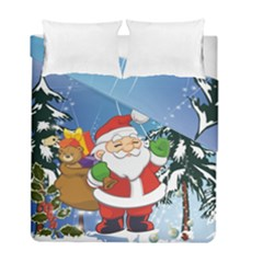 Funny Santa Claus In The Forrest Duvet Cover (twin Size) by FantasyWorld7