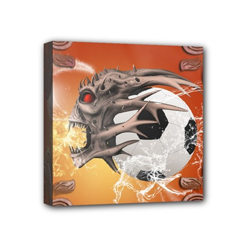 Soccer With Skull And Fire And Water Splash Mini Canvas 4  X 4  by FantasyWorld7