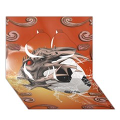 Soccer With Skull And Fire And Water Splash Clover 3d Greeting Card (7x5)  by FantasyWorld7