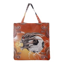 Soccer With Skull And Fire And Water Splash Grocery Tote Bags by FantasyWorld7