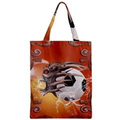 Soccer With Skull And Fire And Water Splash Zipper Classic Tote Bags by FantasyWorld7