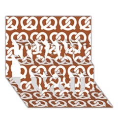 Brown Pretzel Illustrations Pattern Thank You 3d Greeting Card (7x5)