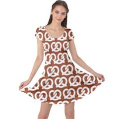Brown Pretzel Illustrations Pattern Cap Sleeve Dresses