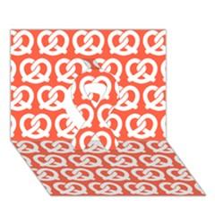 Coral Pretzel Illustrations Pattern Ribbon 3d Greeting Card (7x5)