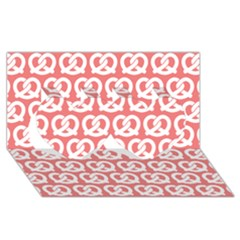Chic Pretzel Illustrations Pattern Twin Hearts 3d Greeting Card (8x4)  by creativemom