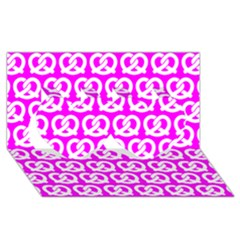 Pink Pretzel Illustrations Pattern Twin Hearts 3d Greeting Card (8x4)
