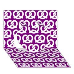 Purple Pretzel Illustrations Pattern Heart 3d Greeting Card (7x5)