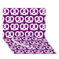 Purple Pretzel Illustrations Pattern Heart Bottom 3d Greeting Card (7x5)