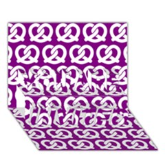 Purple Pretzel Illustrations Pattern You Are Invited 3d Greeting Card (7x5)  by creativemom