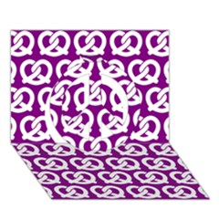 Purple Pretzel Illustrations Pattern Peace Sign 3d Greeting Card (7x5)  by creativemom