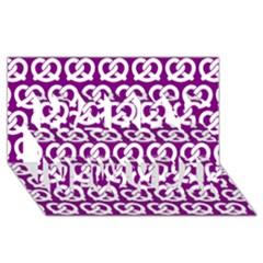 Purple Pretzel Illustrations Pattern Happy New Year 3d Greeting Card (8x4)