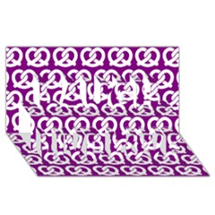 Purple Pretzel Illustrations Pattern Laugh Live Love 3d Greeting Card (8x4)