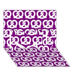 Purple Pretzel Illustrations Pattern I Love You 3d Greeting Card (7x5)