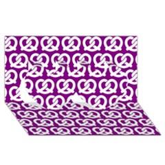 Purple Pretzel Illustrations Pattern Twin Hearts 3d Greeting Card (8x4)