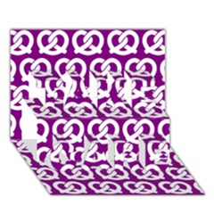 Purple Pretzel Illustrations Pattern Take Care 3d Greeting Card (7x5)