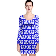Blue Pretzel Illustrations Pattern Long Sleeve Bodycon Dresses