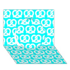 Aqua Pretzel Illustrations Pattern Circle 3d Greeting Card (7x5)