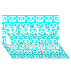 Aqua Pretzel Illustrations Pattern Happy New Year 3d Greeting Card (8x4)