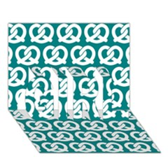 Teal Pretzel Illustrations Pattern Girl 3d Greeting Card (7x5)