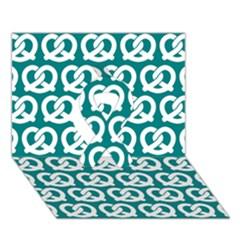 Teal Pretzel Illustrations Pattern Ribbon 3d Greeting Card (7x5)
