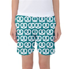 Teal Pretzel Illustrations Pattern Women s Basketball Shorts by creativemom
