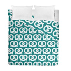 Teal Pretzel Illustrations Pattern Duvet Cover (Twin Size) by creativemom