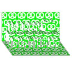 Neon Green Pretzel Illustrations Pattern Happy Birthday 3d Greeting Card (8x4)  by creativemom