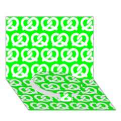 Neon Green Pretzel Illustrations Pattern Circle Bottom 3d Greeting Card (7x5)