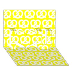 Yellow Pretzel Illustrations Pattern I Love You 3d Greeting Card (7x5)