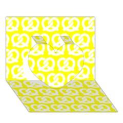 Yellow Pretzel Illustrations Pattern Heart 3d Greeting Card (7x5)