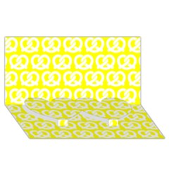 Yellow Pretzel Illustrations Pattern Twin Heart Bottom 3d Greeting Card (8x4)
