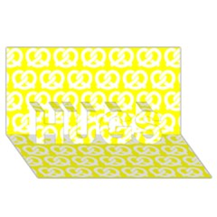 Yellow Pretzel Illustrations Pattern Hugs 3d Greeting Card (8x4)