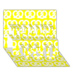 Yellow Pretzel Illustrations Pattern Thank You 3d Greeting Card (7x5)