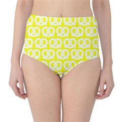Yellow Pretzel Illustrations Pattern High Waist Bikini Bottoms by creativemom