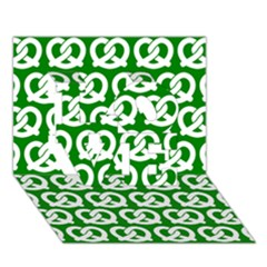 Green Pretzel Illustrations Pattern Love 3d Greeting Card (7x5)