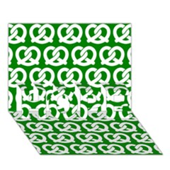 Green Pretzel Illustrations Pattern Hope 3d Greeting Card (7x5)