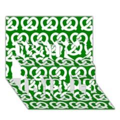 Green Pretzel Illustrations Pattern You Did It 3d Greeting Card (7x5)