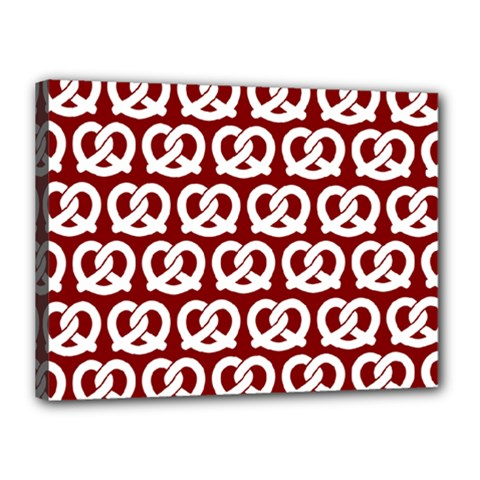 Red Pretzel Illustrations Pattern Canvas 16  X 12  by creativemom