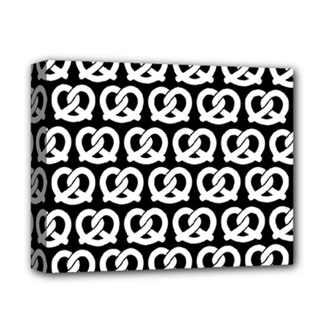 Black And White Pretzel Illustrations Pattern Deluxe Canvas 14  X 11  by creativemom
