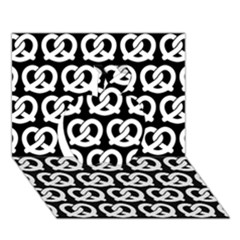 Black And White Pretzel Illustrations Pattern Apple 3d Greeting Card (7x5)  by creativemom