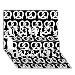 Black And White Pretzel Illustrations Pattern You Rock 3d Greeting Card (7x5)