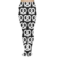 Black And White Pretzel Illustrations Pattern Women s Tights by creativemom