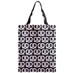 Gray Pretzel Illustrations Pattern Zipper Classic Tote Bags